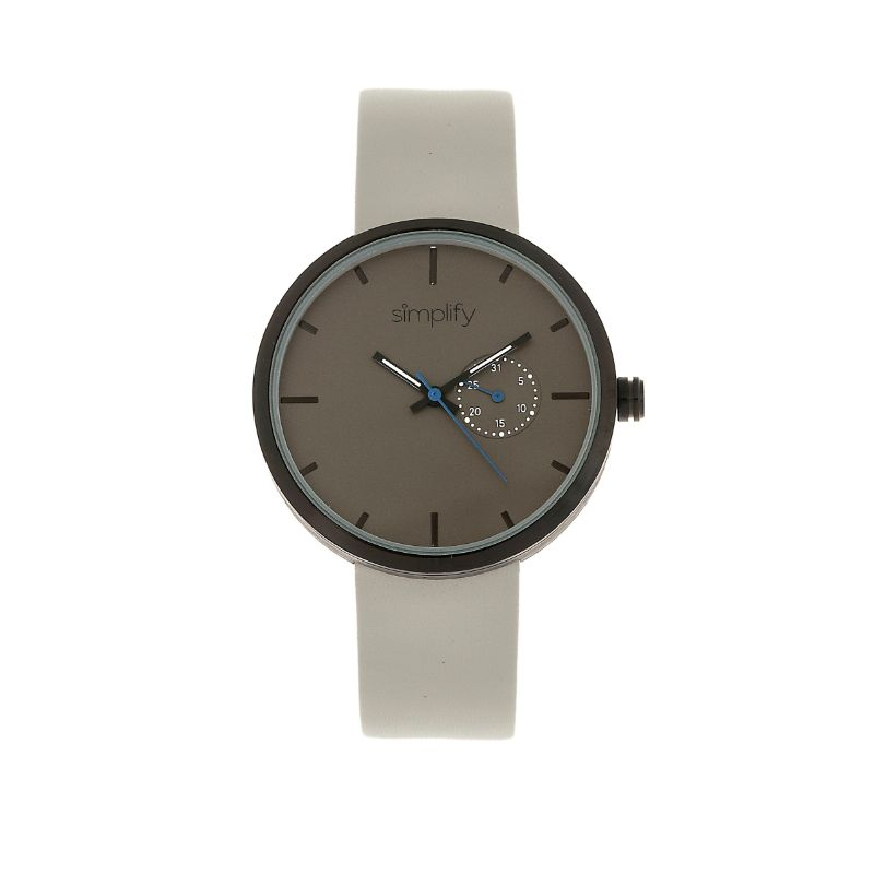 Simplify The Unisex 3900 Leather-Band Watch with Date-Grey-Daily Steals