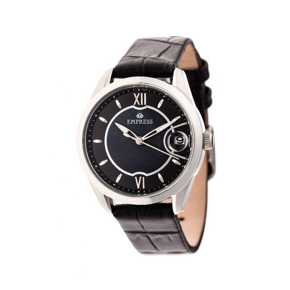 Empress Messalina Automatic Mother-Of-Pearl Leather-Band Watch-Black-Daily Steals
