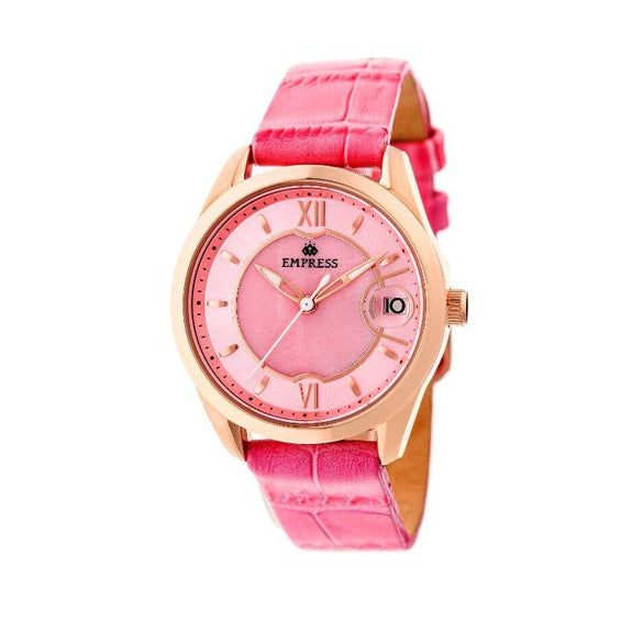 Empress Messalina Automatic Mother-Of-Pearl Leather-Band Watch-Pink-Daily Steals