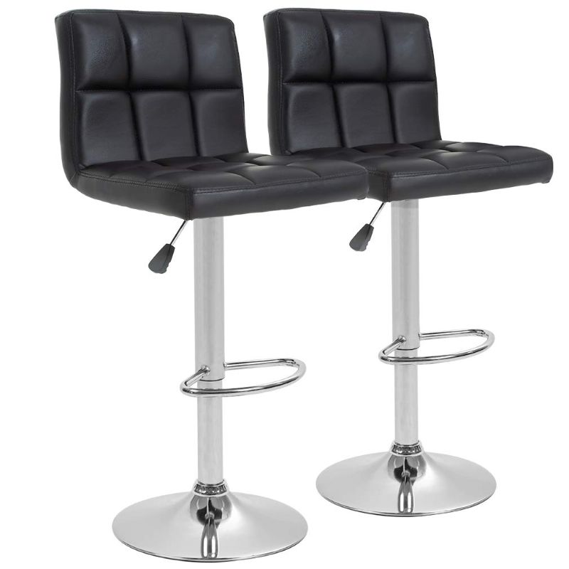 Leather Counter Height Bar Stools - Set of 2-Black-Daily Steals