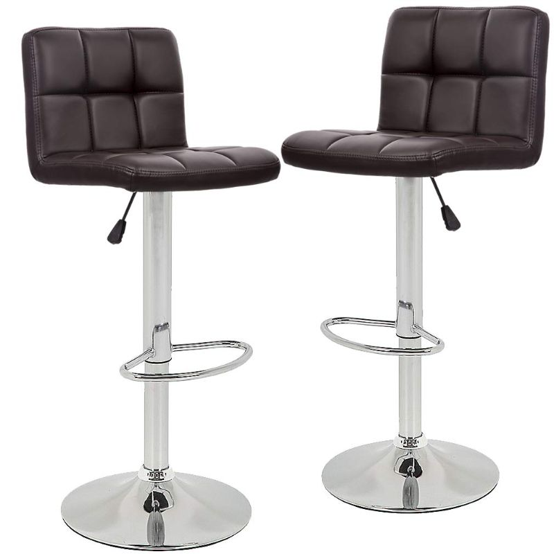 Leather Counter Height Bar Stools - Set of 2-Brown-Daily Steals