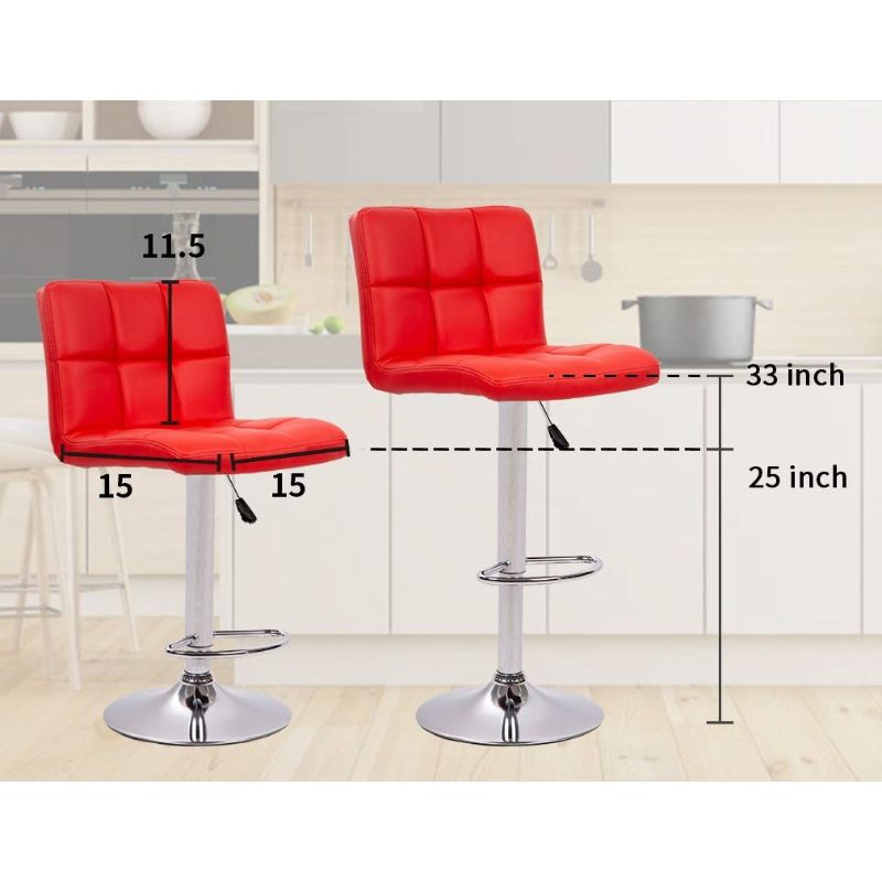 Leather Counter Height Bar Stools - Set of 2-Daily Steals