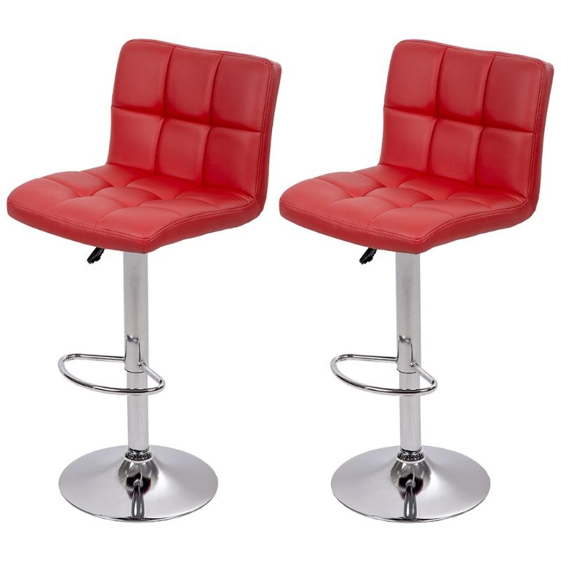Leather Counter Height Bar Stools - Set of 2-Red-Daily Steals