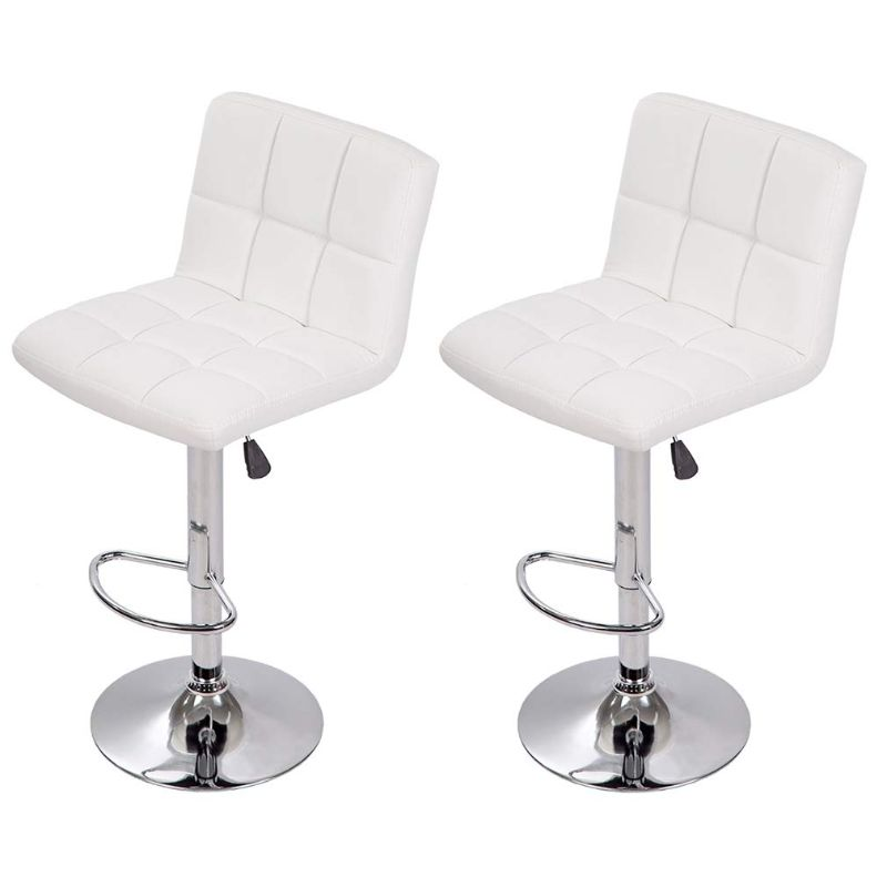 Leather Counter Height Bar Stools - Set of 2-White-Daily Steals
