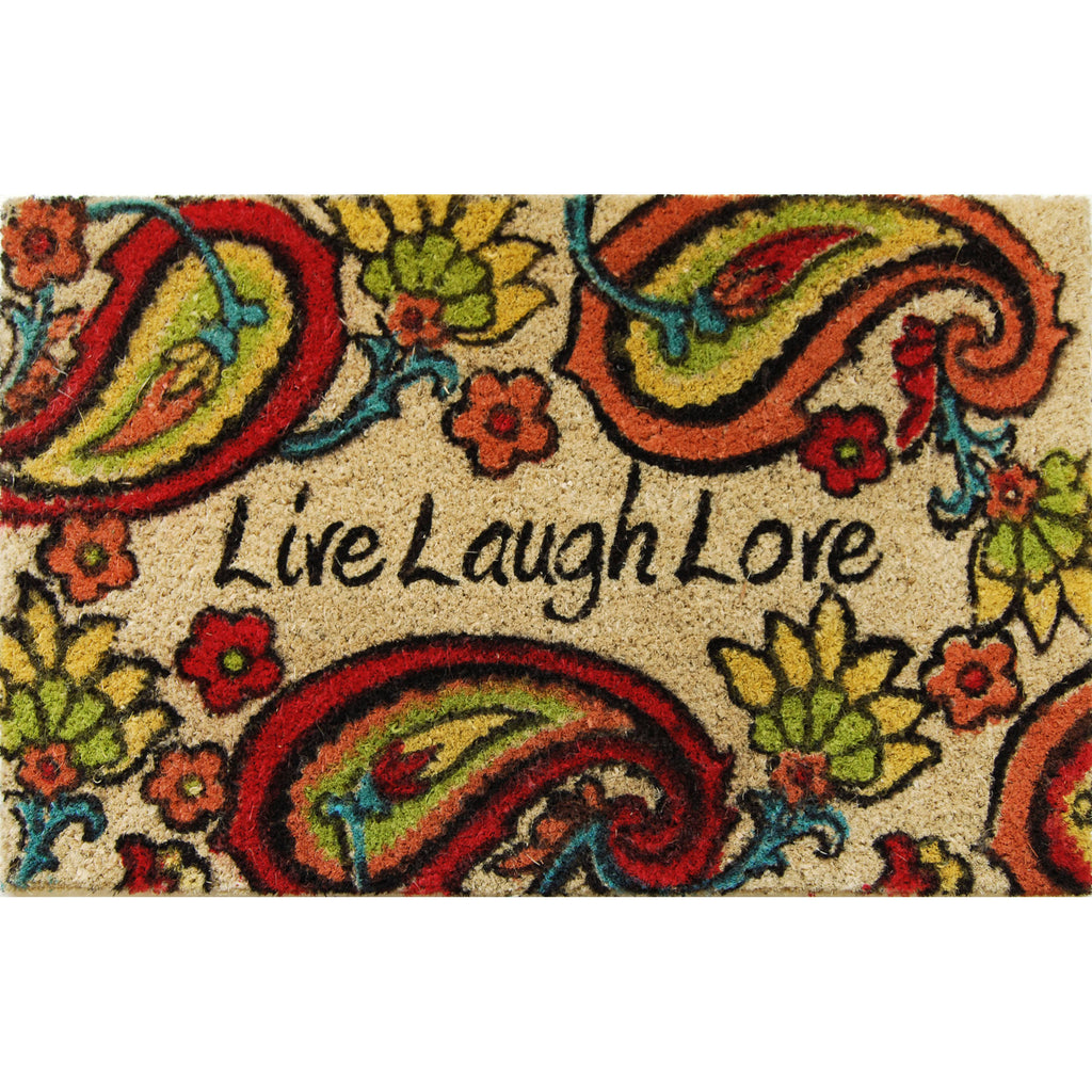 "18"" x 28"" Outdoor Printed Coir Mat-BC,Live Laugh Butterfly Orange-Daily Steals"