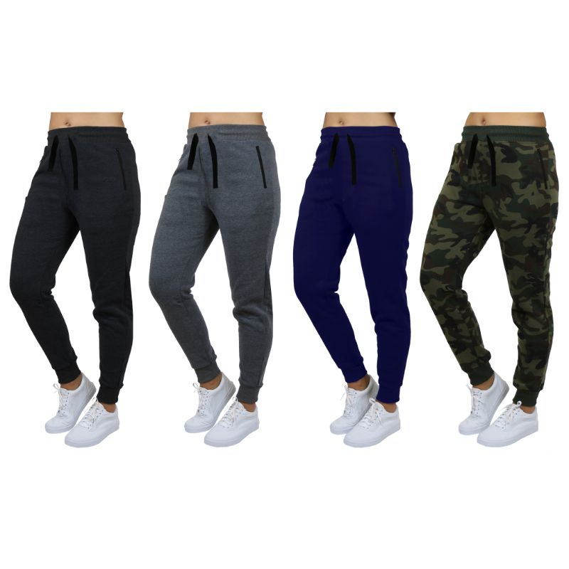 Women's Loose-Fit Joggers With Zipper Pockets - 4 Pack