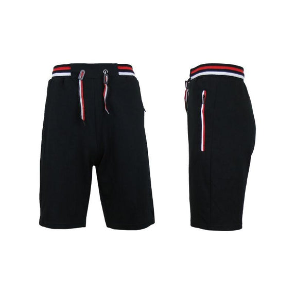 Men's Lounge Tech Jogger Shorts with Zipper Side Pockets-Black-L-Daily Steals