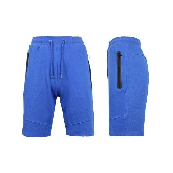 Men's Lounge Tech Jogger Shorts with Zipper Side Pockets-Classic Royal-L-Daily Steals