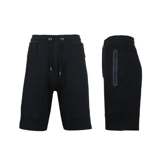 Men's Lounge Tech Jogger Shorts with Zipper Side Pockets-Classic Black-S-Daily Steals