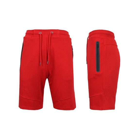 Men's Lounge Tech Jogger Shorts with Zipper Side Pockets-Classic Red-L-Daily Steals