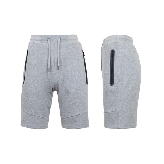 Men's Lounge Tech Jogger Shorts with Zipper Side Pockets-Classic Heather Grey-M-Daily Steals