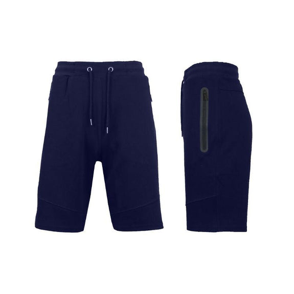 Men's Lounge Tech Jogger Shorts with Zipper Side Pockets-Classic Navy-S-Daily Steals