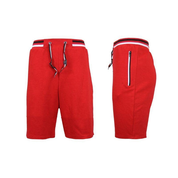 Men's Lounge Tech Jogger Shorts with Zipper Side Pockets-Red-XL-Daily Steals