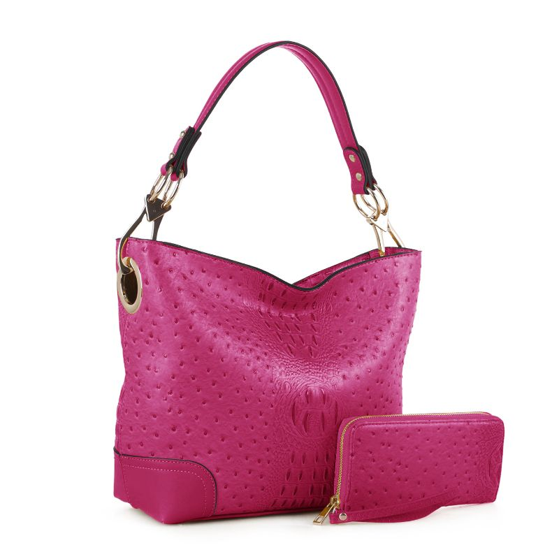 MKF Collection Wandy Hobo Sac à main et portefeuille assorti - Neon Fuchsia - Daily Steals