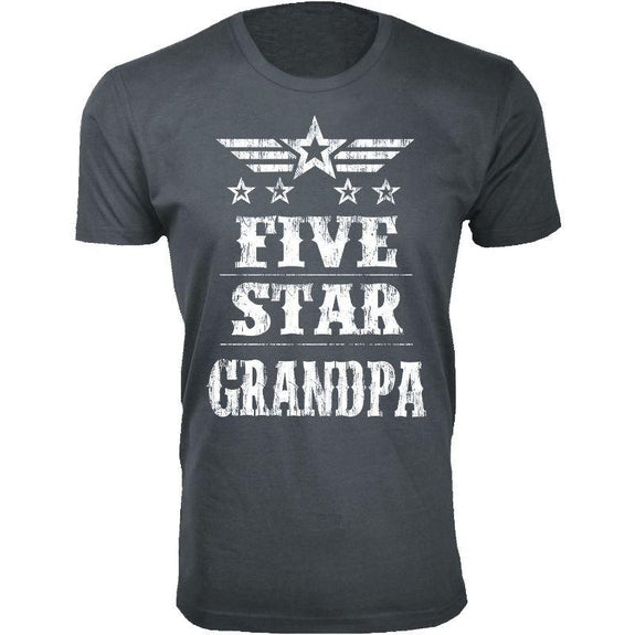 Men's Five Star Father's Day T-shirts-Grandpa - Charcoal-S-Daily Steals