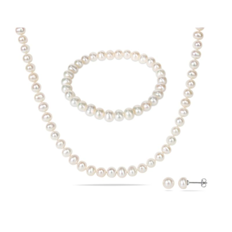 Women's Freshwater 6-7mm Cultured Pearl Bracelet, Necklace, and Earring Set