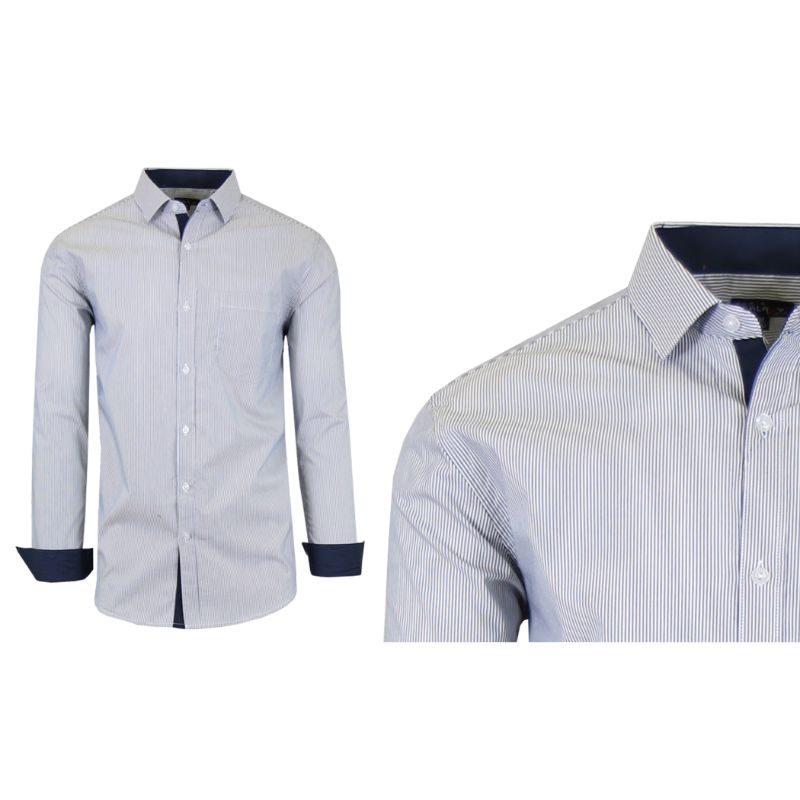 Mens Quick Dry Performance Stretch Dress Shirts-Grey/White-2X-Large-Daily Steals