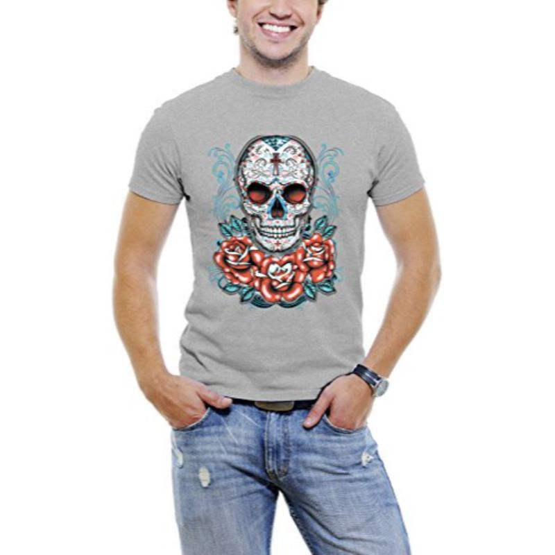 Skull Roses Tattoo - Men's T-Shirt-Light Grey-3XL-Daily Steals