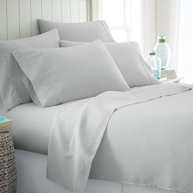 Microfiber Merit Linens Bed Sheets Sets - 6 Piece-Light Gray-Twin-Daily Steals