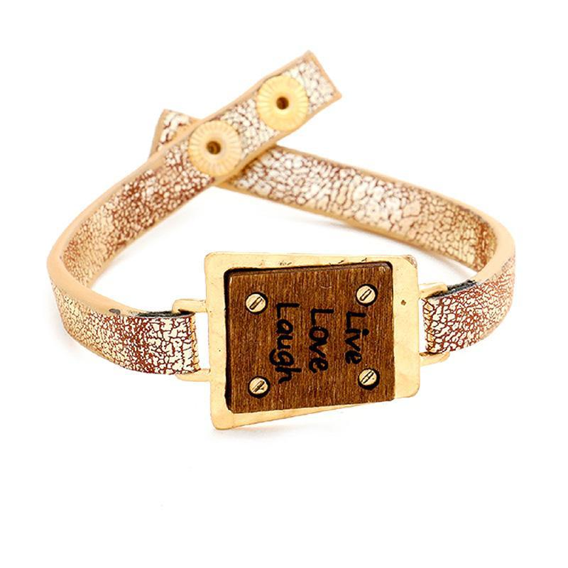 18kt Gold Plated Live Love Laugh Bracelet-Yellow-Daily Steals