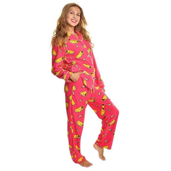 Angelina Women's Cozy Fleece Pajama Set-Tacos With Pockets on Pants-X-Large-Daily Steals