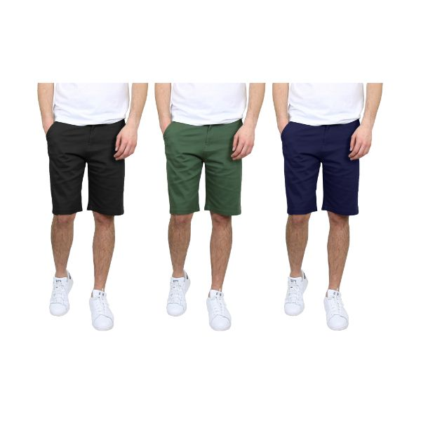 Men's 5-Pocket Flat-Front Stretch Chino Shorts - 3 Pack-Black & Olive & Navy-30-Daily Steals