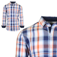 Mens Long Sleeve Slim-Fit Cotton Dress Shirts W/ Chest Pocket-Blue/Light Red-Small-Daily Steals