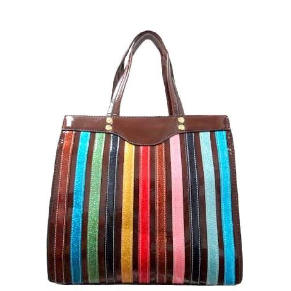 Colorful Stripe Satchel Handbag-Coffee-Daily Steals