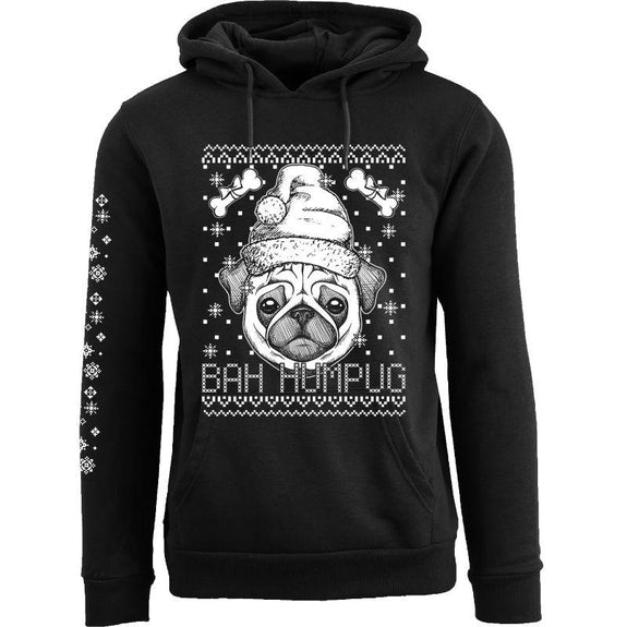 Women's Funny Christmas Pull Over Hoodie-Bah Humpug - Black-S-Daily Steals
