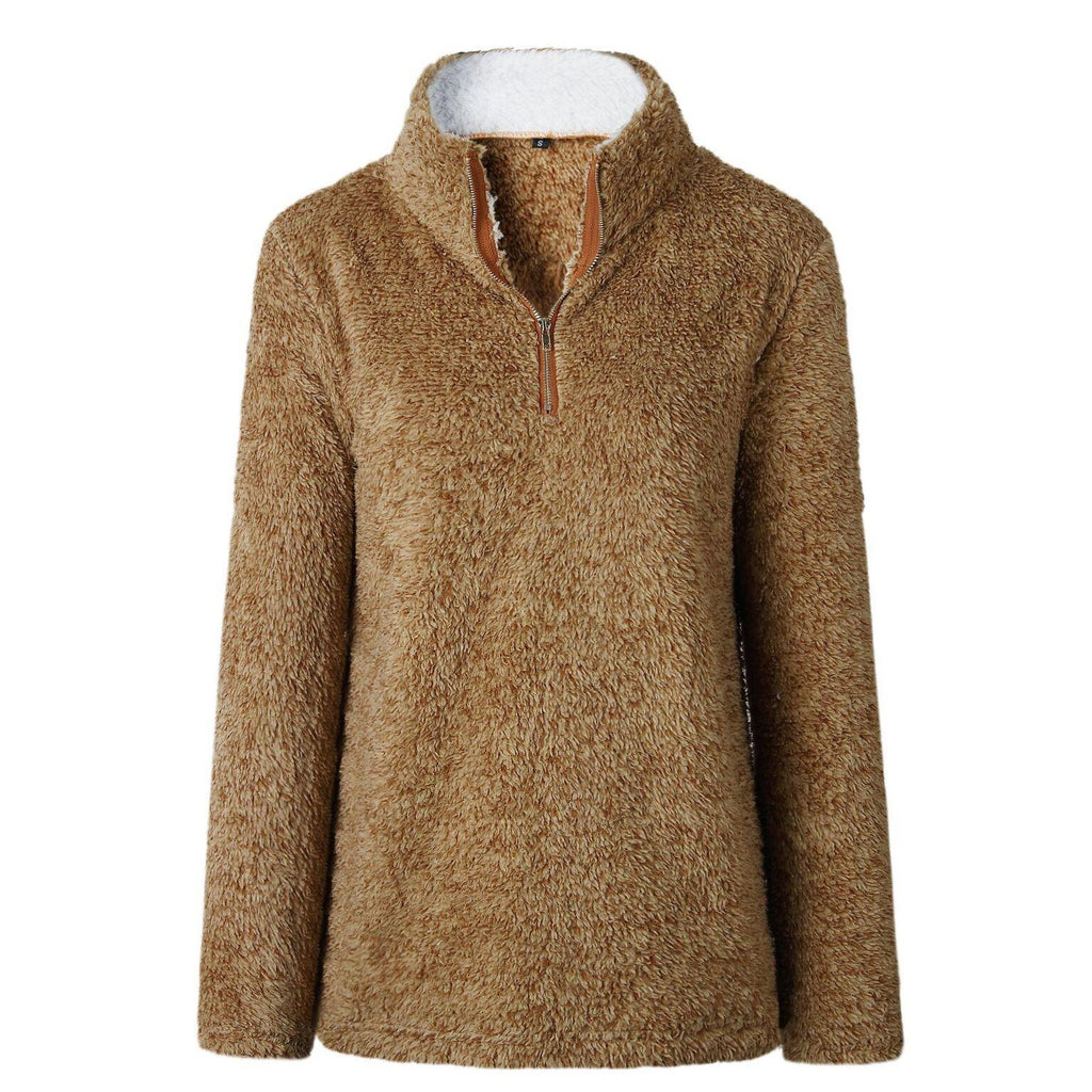Zip Up Top Fleece Pullover-Brown-Large-Daily Steals