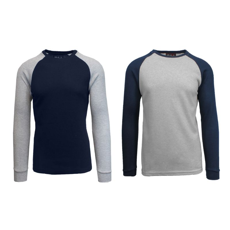 Men's Raglan Thermal Shirt - 2 Pack-Navy/Heather Grey & Heather Grey/Navy-Small-Daily Steals