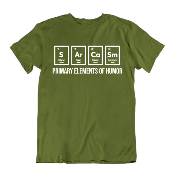 """Primary Elements of Humor"" Funny Science T-Shirt-Military Green-Small-Daily Steals"
