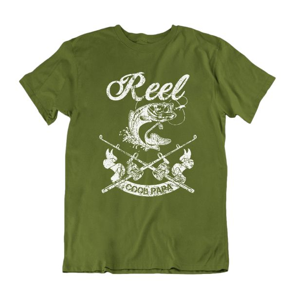 Reel Cool Papa' Funny Fishing T Shirt-Military Green-S-Daily Steals