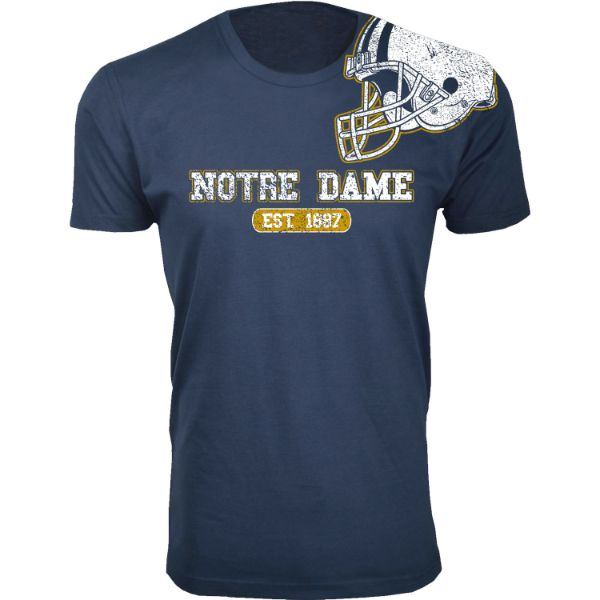 Men's Awesome College Football Helmet T-Shirts-S-Nortre Dame - Navy-Daily Steals