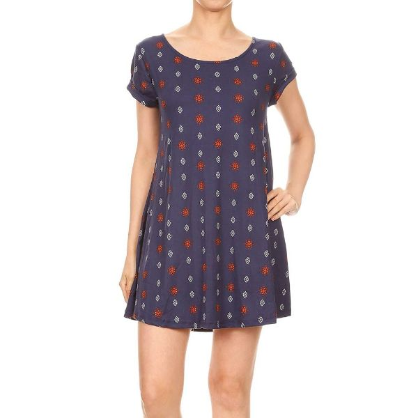 Women's Short Sleeve Summer Tunic Dress-Navy/Coral/White Boho Print-Small-Daily Steals