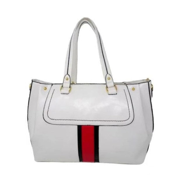 Vintage Striped Leather Tote Handbag-White-Daily Steals