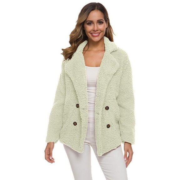 Soft Comfy Plush Pea Coat-White-Large-Daily Steals