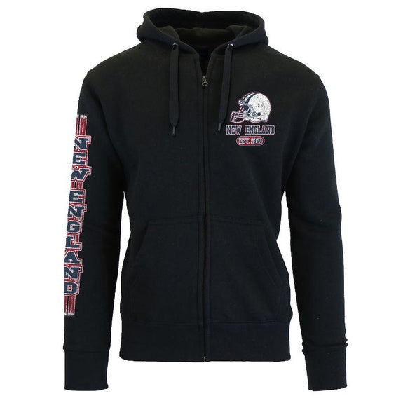 Women's Game Day Football Zip Up Hoodie-New England - Black-S-Daily Steals