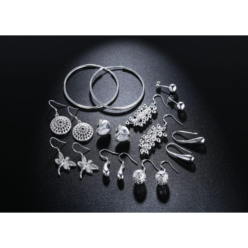 9 Pairs Of Earrings in 18k White Gold Filled-Daily Steals