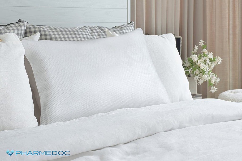 [2-Pack} PharMeDoc Shredded Memory Foam Pillow with Hypoallergenic Pillow Case-Queen-Daily Steals