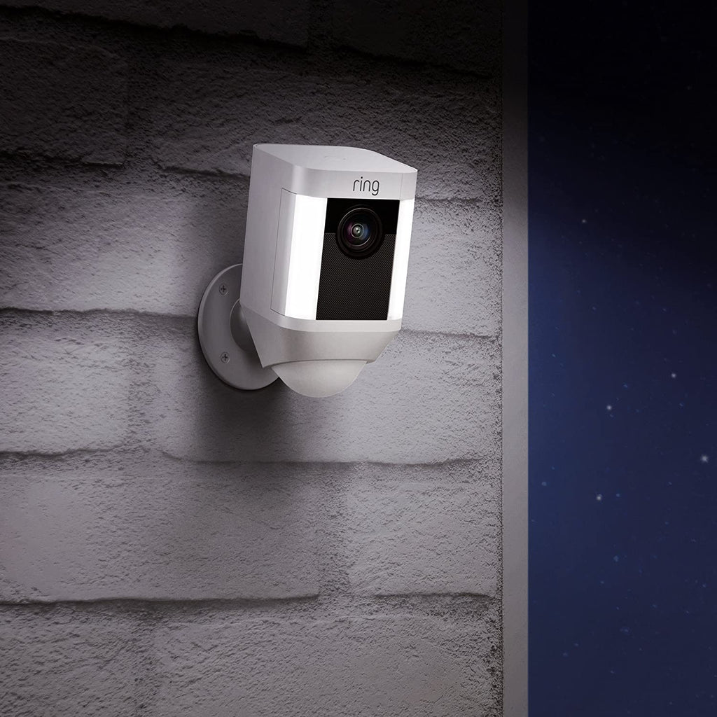 Ring Spotlight Security Camera w/ Two-Way Talk, Siren Alarm, Battery, HD, White, Works with Alexa-Daily Steals