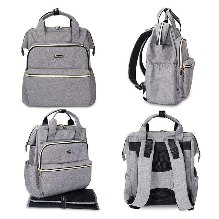 Daily Steals-Premium Large Capacity Diaper Backpack by Liname - Gray-Accessories-