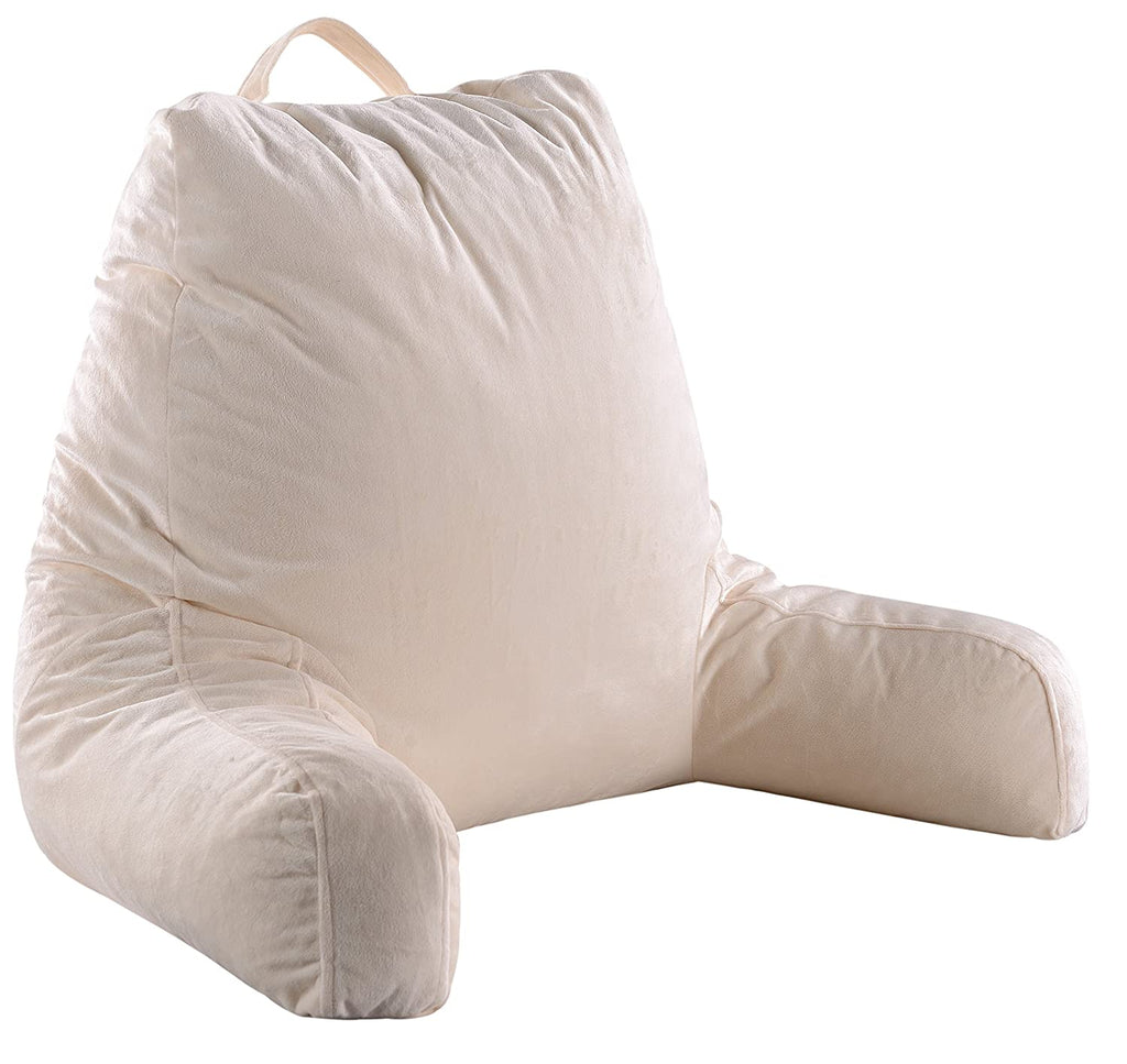 Reading and TV Pillow with Removable Microplush Washable Cover-Ivory-Daily Steals