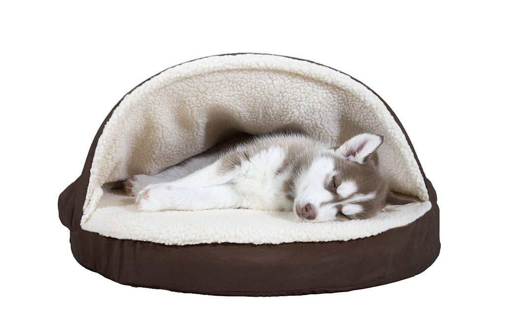 "FurHaven Snuggery Round Burrow Pet Bed-26"" Base-Faux Sheepskin - Espresso-Daily Steals"