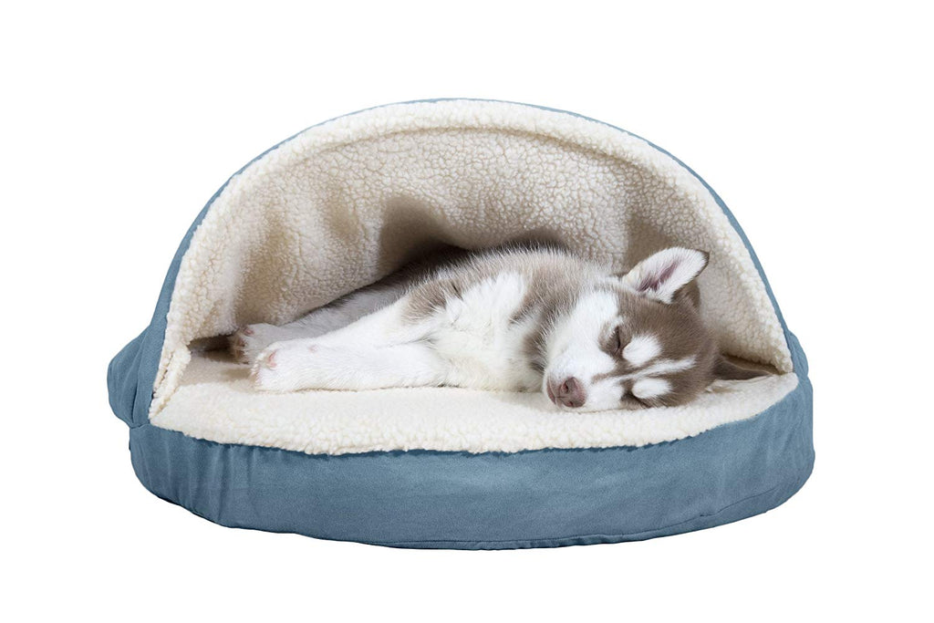 "FurHaven Snuggery Round Burrow Pet Bed-26"" Base-Faux Sheepskin - Blue-Daily Steals"