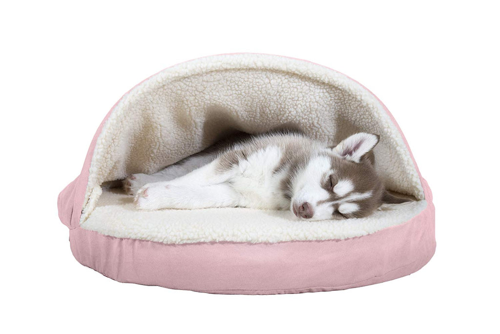 "FurHaven Snuggery Round Burrow Pet Bed-26"" Base-Faux Sheepskin - Pink-Daily Steals"