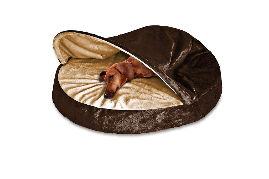 "FurHaven Snuggery Round Burrow Pet Bed-26"" Base-Microvelvet - Espresso-Daily Steals"