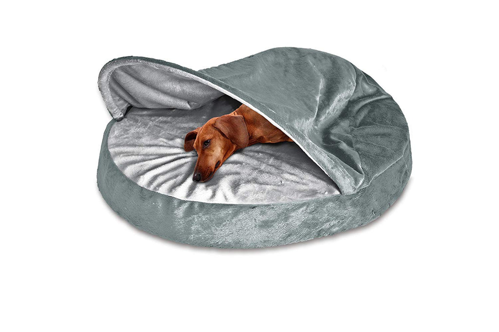 "FurHaven Snuggery Round Burrow Pet Bed-26"" Base-Microvelvet - Gray-Daily Steals"