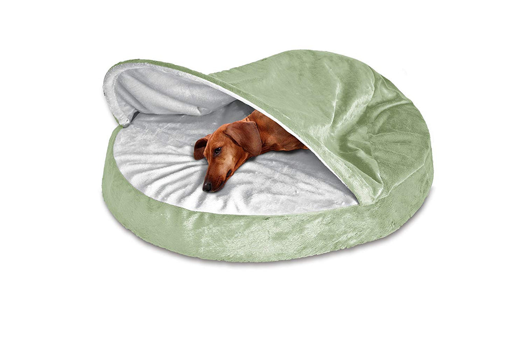 "FurHaven Snuggery Round Burrow Pet Bed-35"" Base-Microvelvet - Sage-Daily Steals"