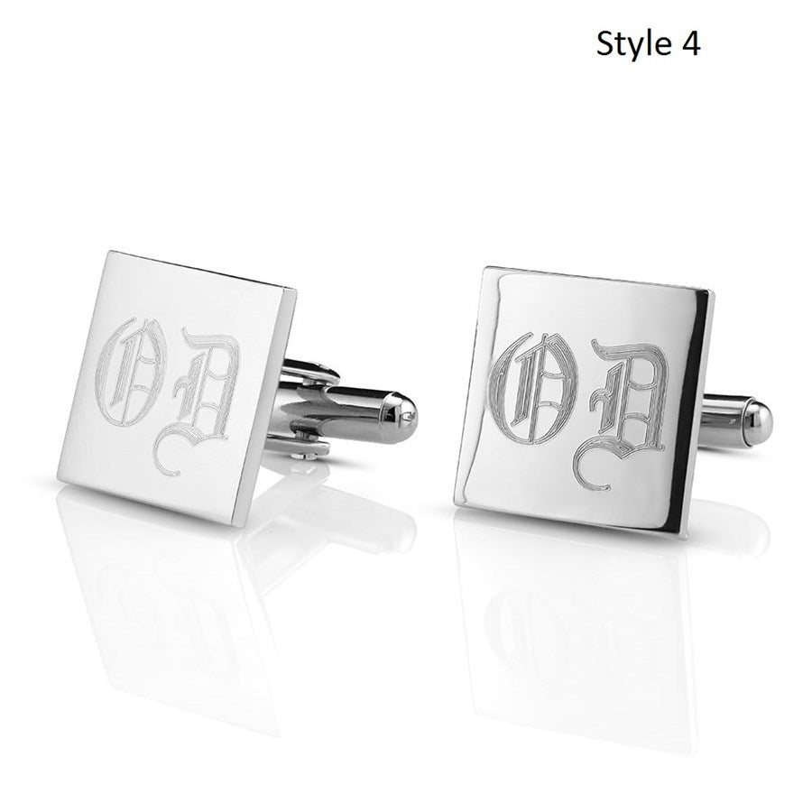 Stainless Steel Monogram Cufflinks with FREE Gift Box-Square-Daily Steals